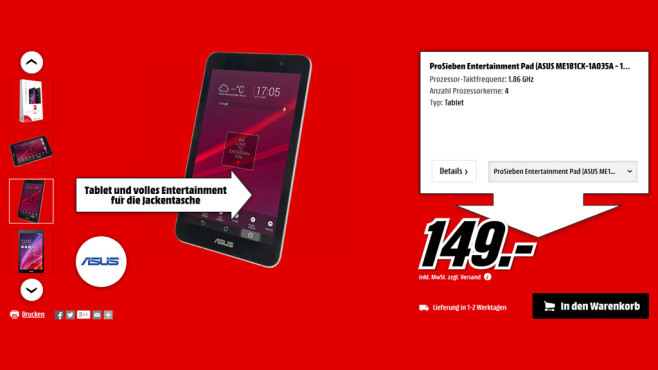 Asus ProSieben Entertainment Pad © Media Markt