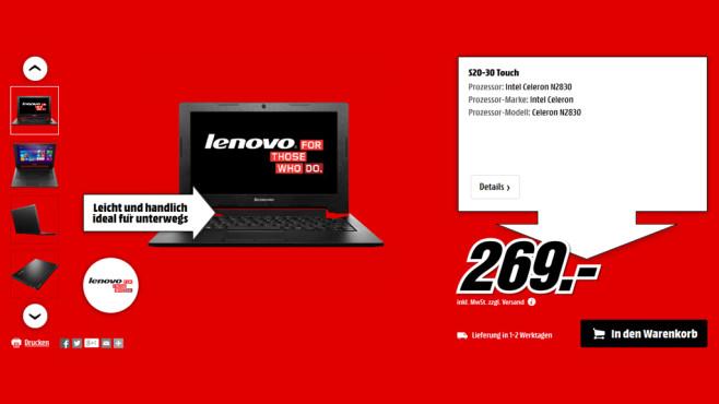 Lenovo IdeaPad S20-30 ©Media Markt