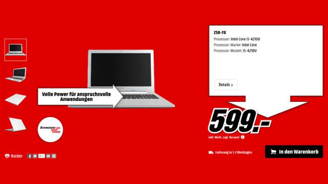 Lenovo IdeaPad Z50-70 ©Media Markt
