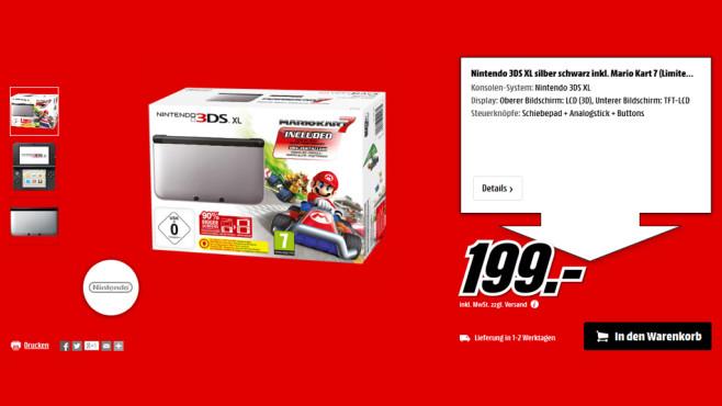 Nintendo 3DS XL silber-schwarz + Mario Kart 7 ©Media Markt