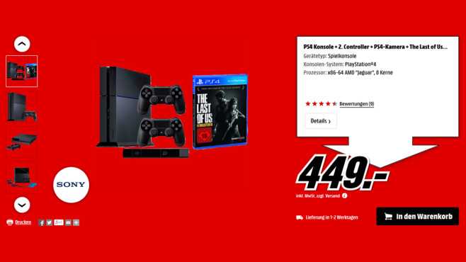 PlayStation 4 + 2. Controller + PS4-Kamera+ The Last of Us – Remastered © Media Markt