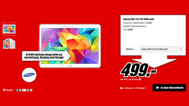 Samsung Galaxy Tab S 10.5 16GB LTE ©Media Markt