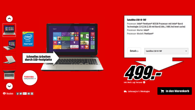 Toshiba Satellite L50-B-1XF © Media Markt
