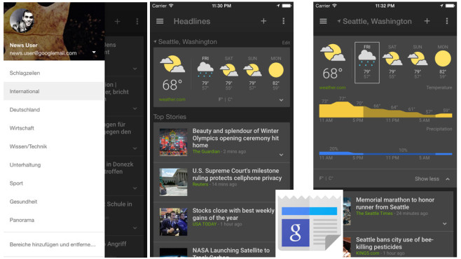 Google News & Wetter ©Google Inc