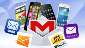 GMail-App f�r Android Smartphones © Web.de, GMX, Yahoo, Hotmail, Google, Samsung, Nokia