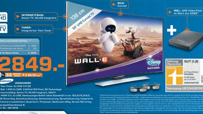 Samsung UE55HU8590 mit UHD-Videopack ©Saturn