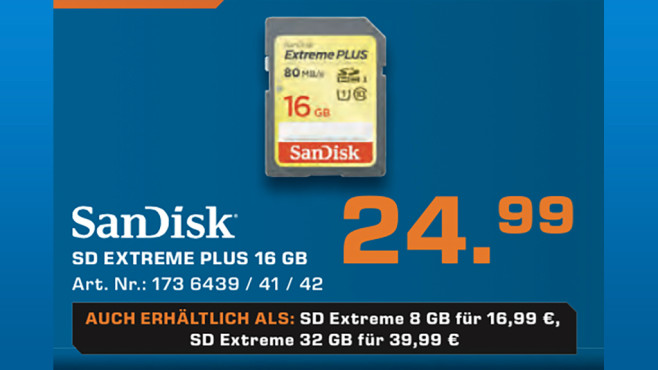 Sandisk Extreme PLUS SDHC 16GB Class 10 UHS-I (SDSDXS-016G-X46) © Saturn