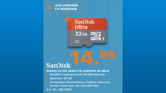Sandisk Mobile Ultra Android microSDHC 32GB Class 10 UHS-I (SDSDQUA-032G) © Saturn