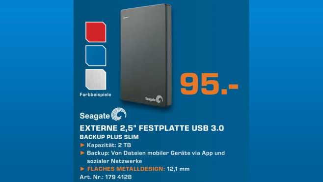 Seagate Backup Plus Slim Portable USB 3.0 2TB © Saturn