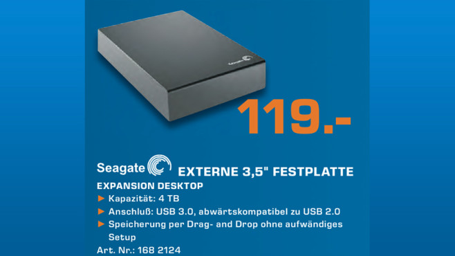 Seagate Expansion Desktop USB 3.0 4TB © Saturn