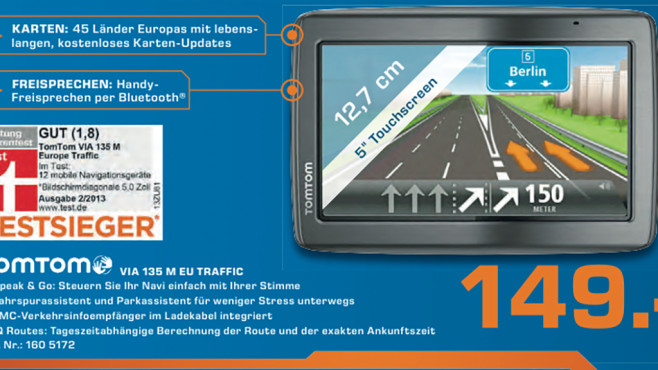 TomTom Via 135 M Europa Traffic © Saturn