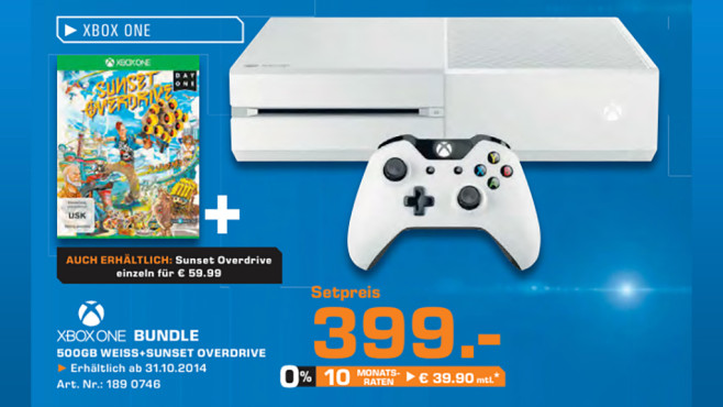 Microsoft Xbox One 500GB (weiß) + Sunset Overdrive Special Edition © Saturn