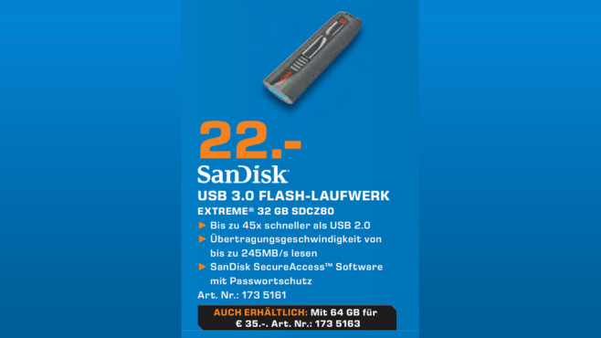 Sandisk Extreme 32GB USB 3.0 © Saturn