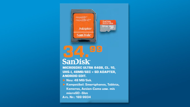 Sandisk Mobile Ultra microSDXC 64GB Class 10 UHS-I © Saturn