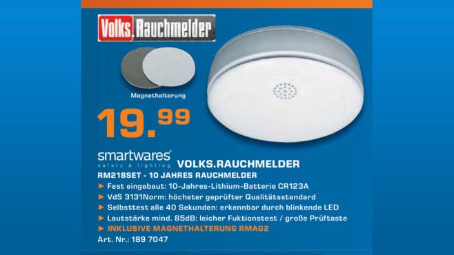 Smartwares Volks-Rauchmelder mit Magnethalter (RM218SET) ©Saturn