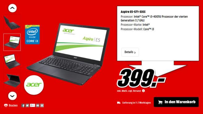 Acer Aspire E5-571-33SS ©Media Markt