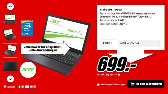 Acer Aspire E5-571G-71A4 ©Media Markt