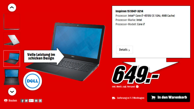 Dell Inspiron 15 5547-3214 © Media Markt