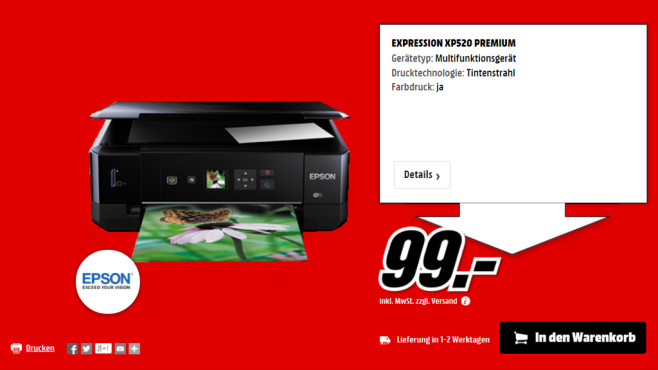Epson Expression Premium XP-520 © Media Markt