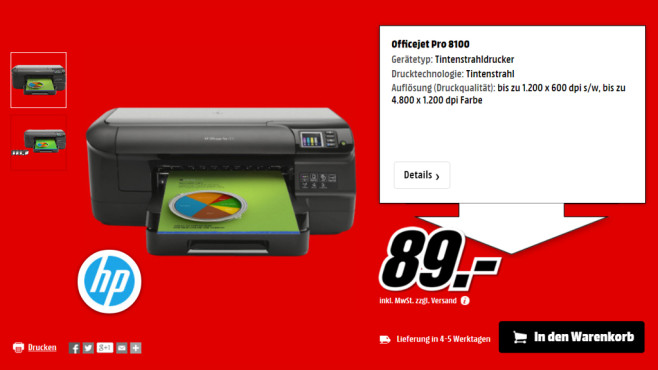 Hewlett-Packard HP Officejet Pro 8100 N811a (CM752A) © Media Markt