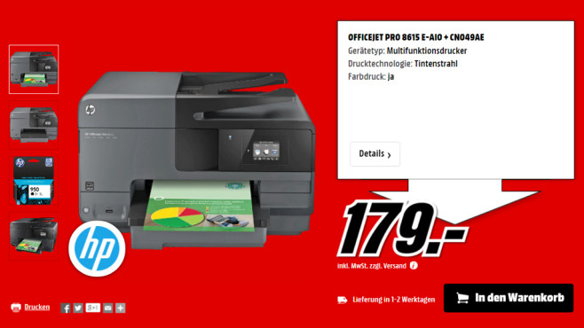 Hewlett-Packard HP Officejet Pro 8615 (D7Z36A) © Media Markt