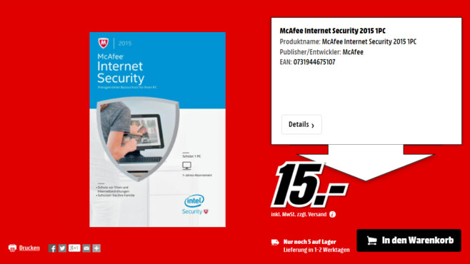 McAfee Internet Security 2015 (Multi) (Win) (1 User) (1 Jahr) © Media Markt
