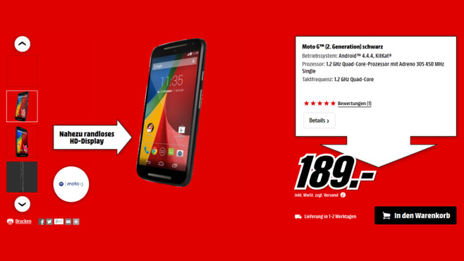Motorola Moto G (2. Generation) © Media Markt