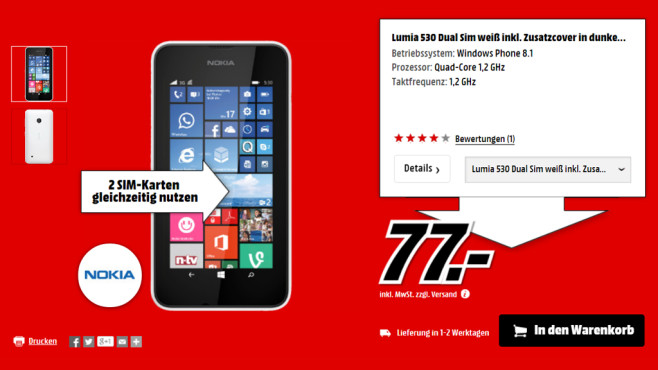 Nokia Lumia 530 Dual SIM ©Media Markt
