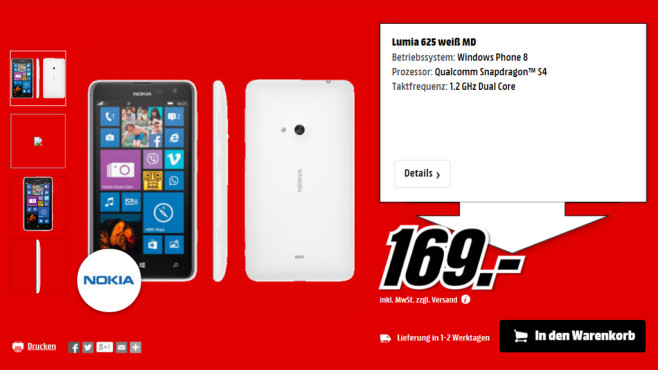 Nokia Lumia 625 ©Media Markt
