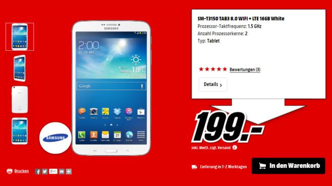 Samsung Galaxy Tab 3 (8.0) LTE ©Media Markt
