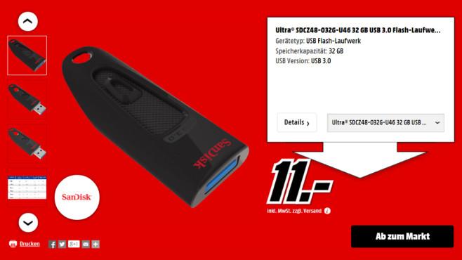 Sandisk Ultra 16GB USB 3.0 ©Media Markt