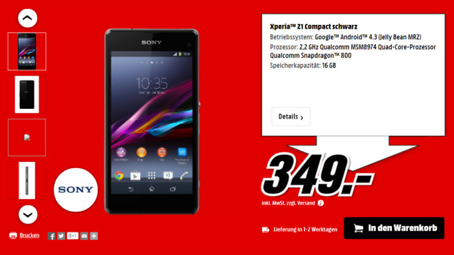 Sony Xperia Z1 Compact ©Media Markt