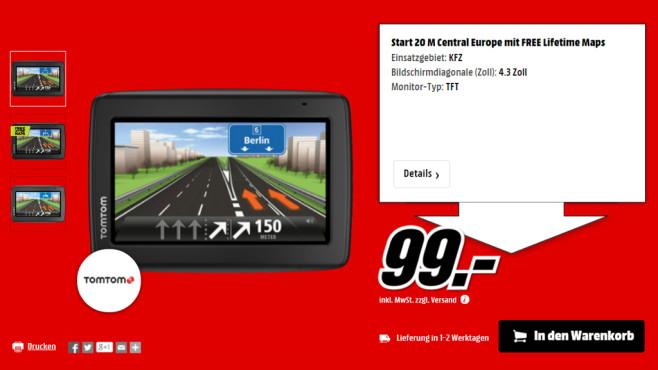 TomTom Start 20 M Central Europe Traffic ©Media Markt