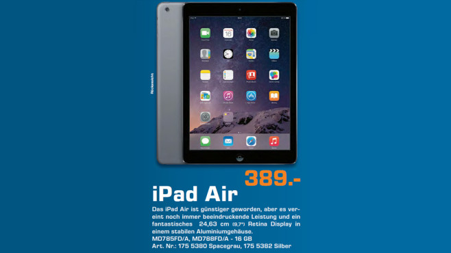 Apple iPad Air 16GB WiFi © Saturn