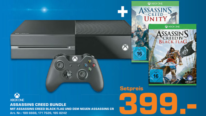 Microsoft Xbox One 500GB + Assassin's Creed: Unity + Assassin's Creed: Black Flag © Saturn