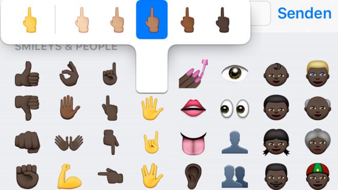 Mittelfinger bei iOS 9.1 ©Apple