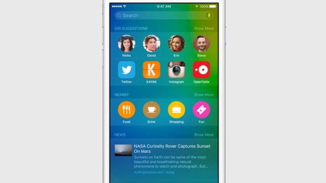 iOS 9: Spotlight © Apple