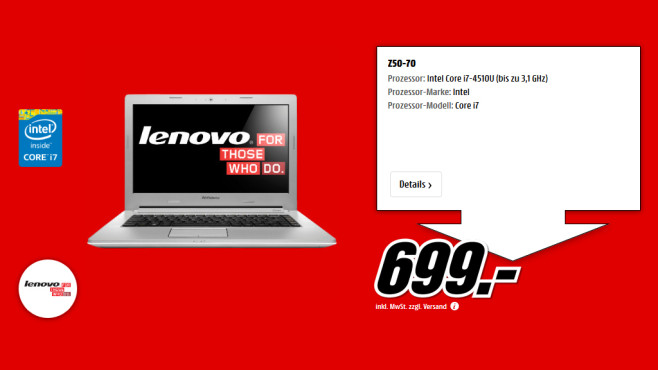 Lenovo IdeaPad Z50-70 © Saturn