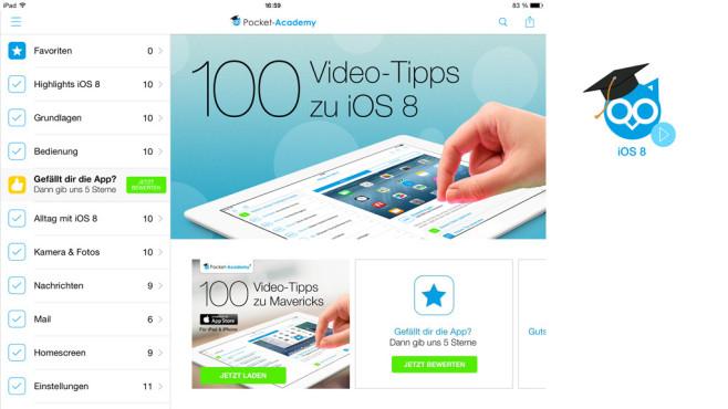 100 Video-Tipps zu iOS 8 für iPad & iPhone ©Falkemedia digital GmbH
