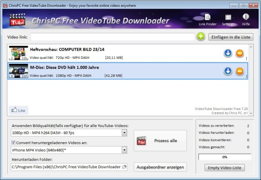 ChrisPC Free VideoTube Downloader © COMPUTER BILD
