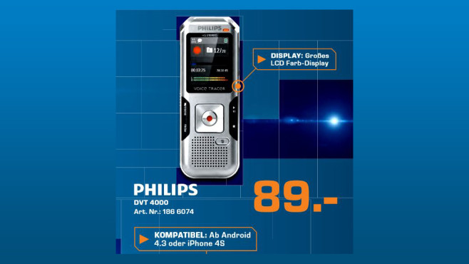 Philips Digital Voice Tracer 4000 © Saturn