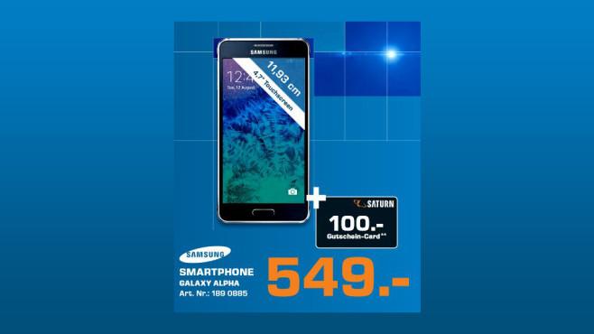 Samsung Galaxy Alpha + 100-Euro-Gutschein ©Saturn