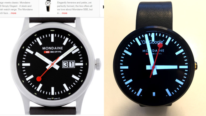 Dreiste Ziffernblatt-Plagiate auf Smartwatches ©Mondaine, COMPUTER BILD