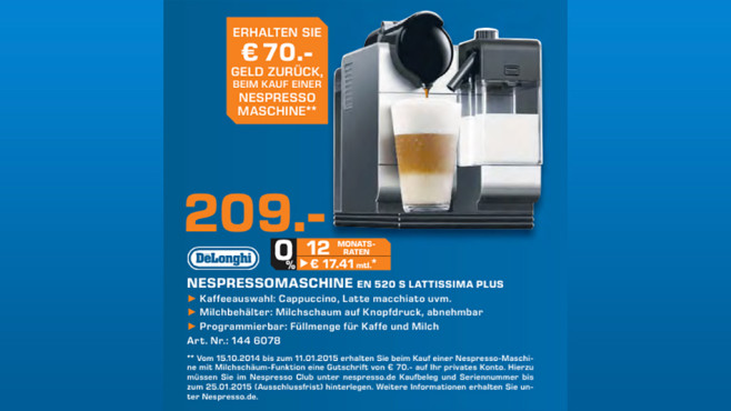De'Longhi Nespresso Lattissima+ EN 520 S ©Saturn