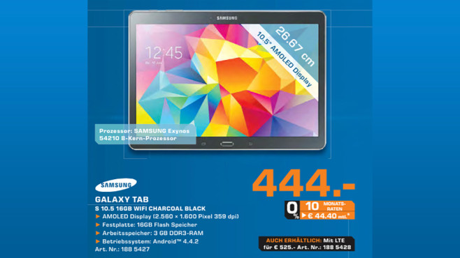 Samsung Galaxy Tab S 10.5 16GB WiFi weiß ©Saturn