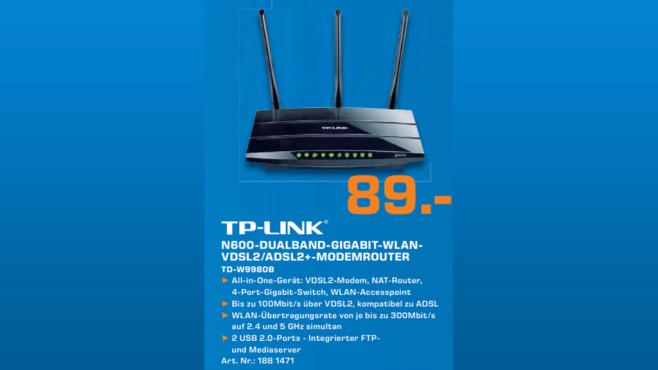 TP-LINK N600 Wireless Dual Band Gigabit VDSL2/ADSL2+ Modem Router ©Saturn
