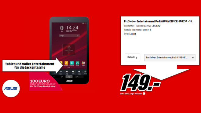Asus MeMO Pad 8 (ProSieben Entertainmet Pad) © Media Markt
