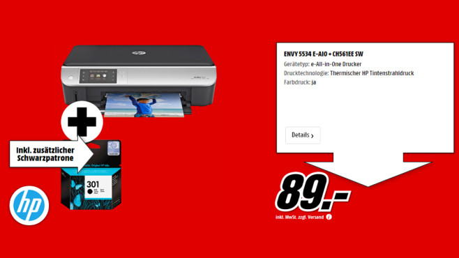 HP Envy 5532 e-All-in-One + Patrone CH561EE SW © Media Markt