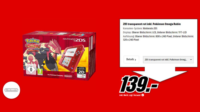 Nintendo 2DS rot transparent + Pokémon: Omega Rubin © Media Markt