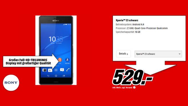 Sony Xperia Z3 ©Media Markt
